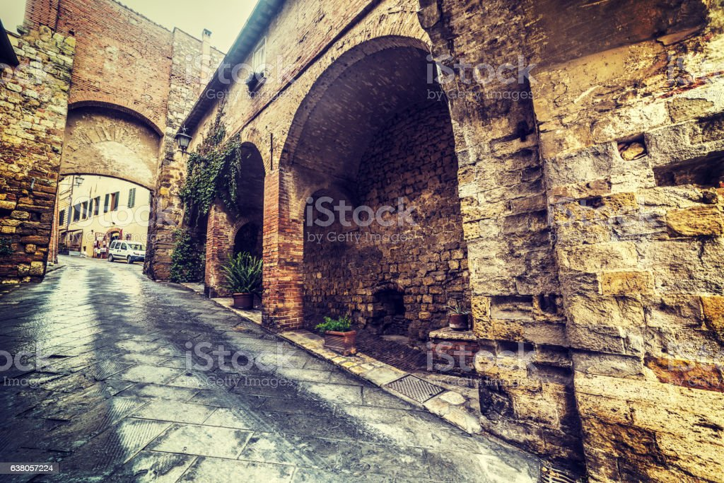Narrow street in Montalcino stock photo