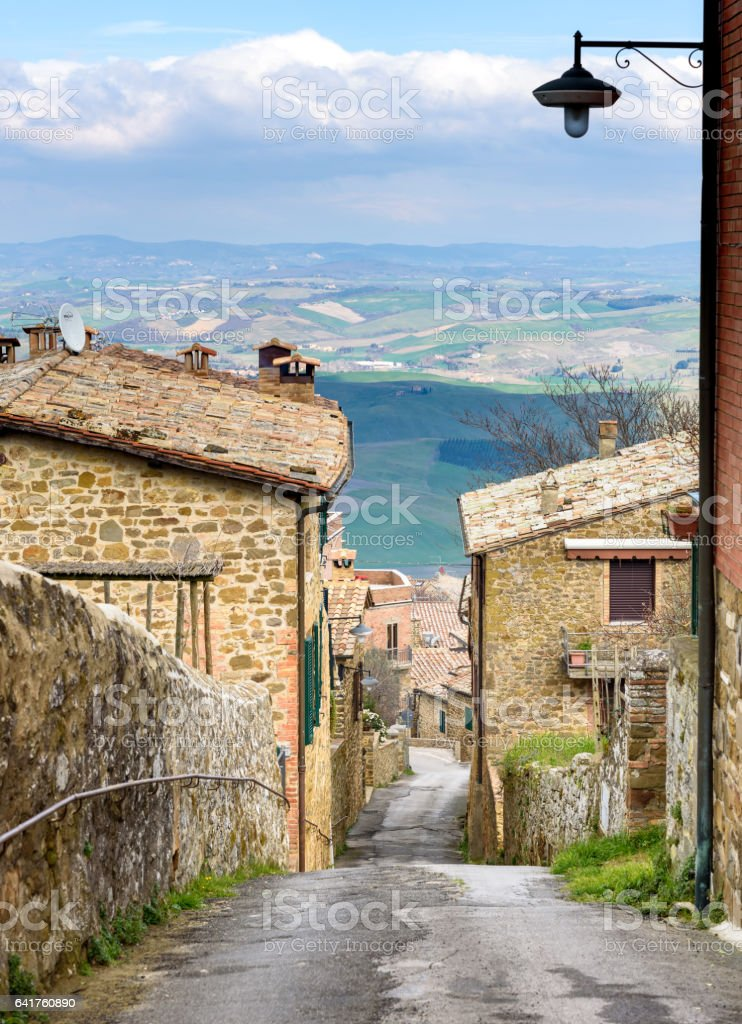 narrow street in Montalcino, tuscany, italy stock photo