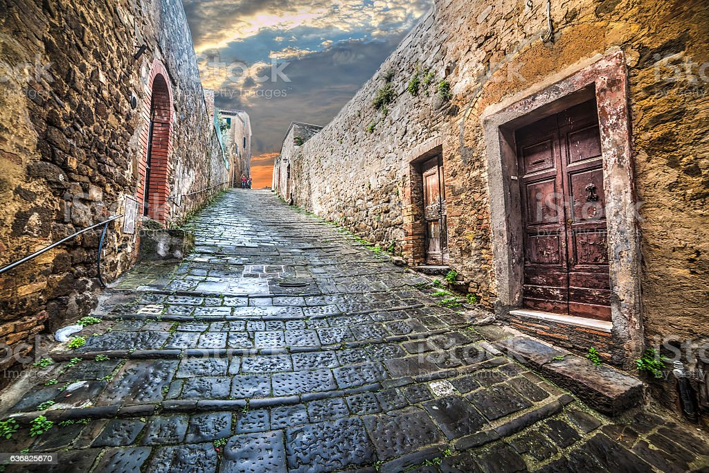 Narrow street in Montepulciano stock photo