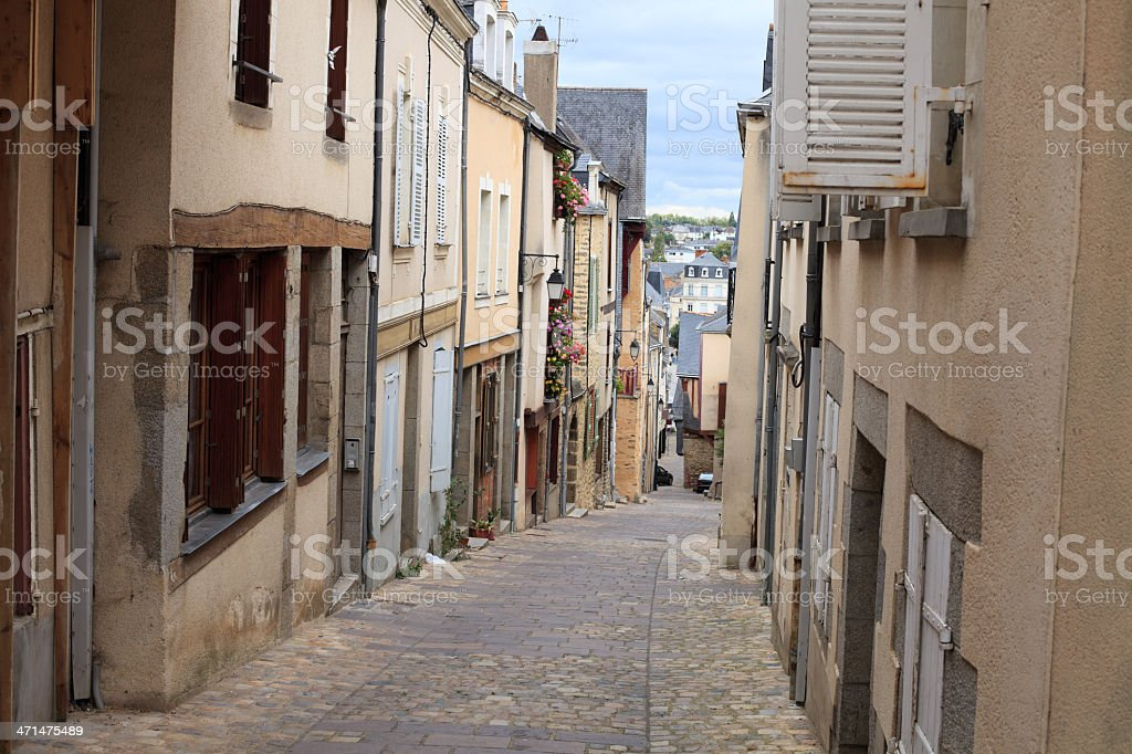 Narrow street in old french town stock photo