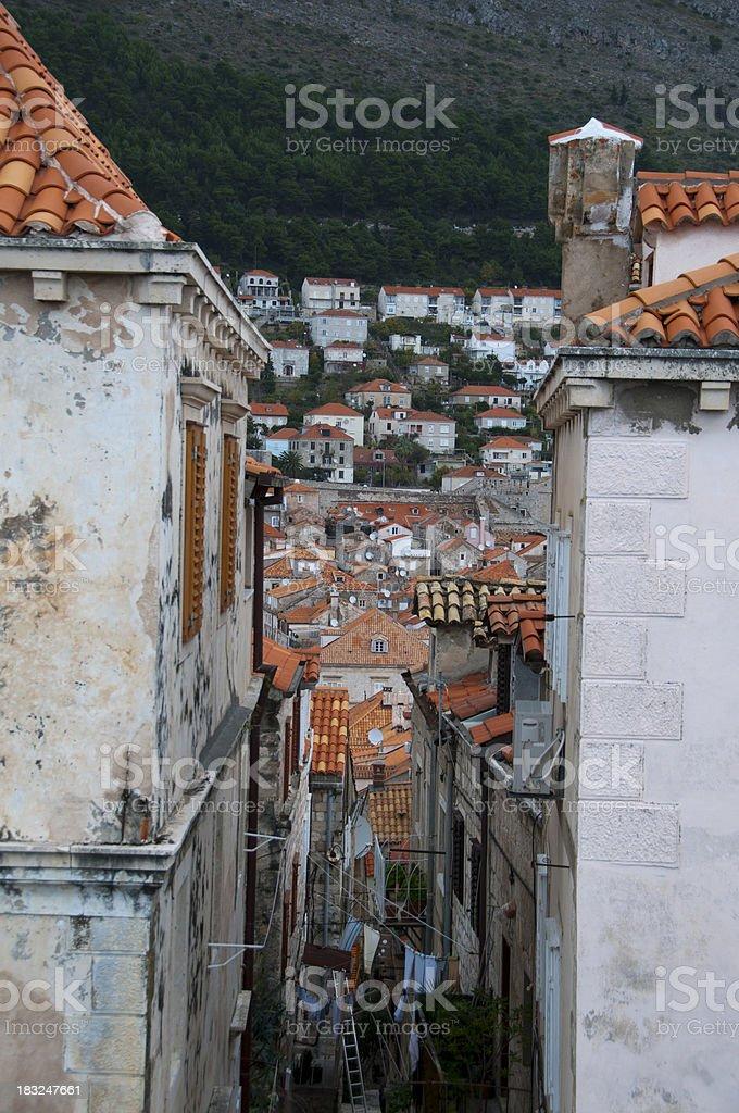 Narrow street in old town of Dubrovnik, Croatia royalty-free stock photo