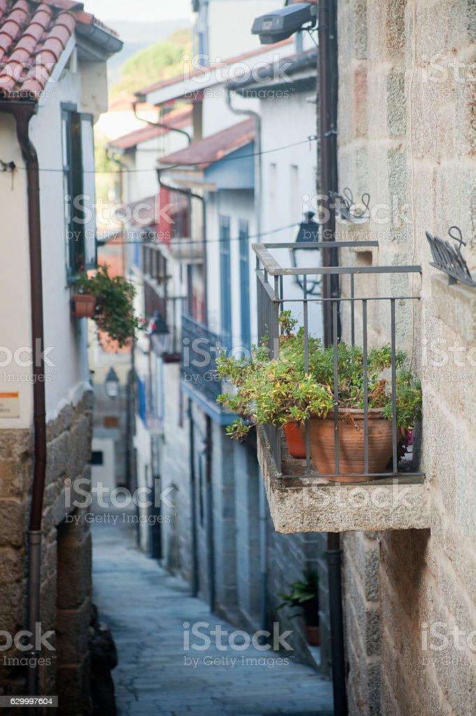 Narrow street in Ribadavia, Ourense, Galicia, Spain. stock photo