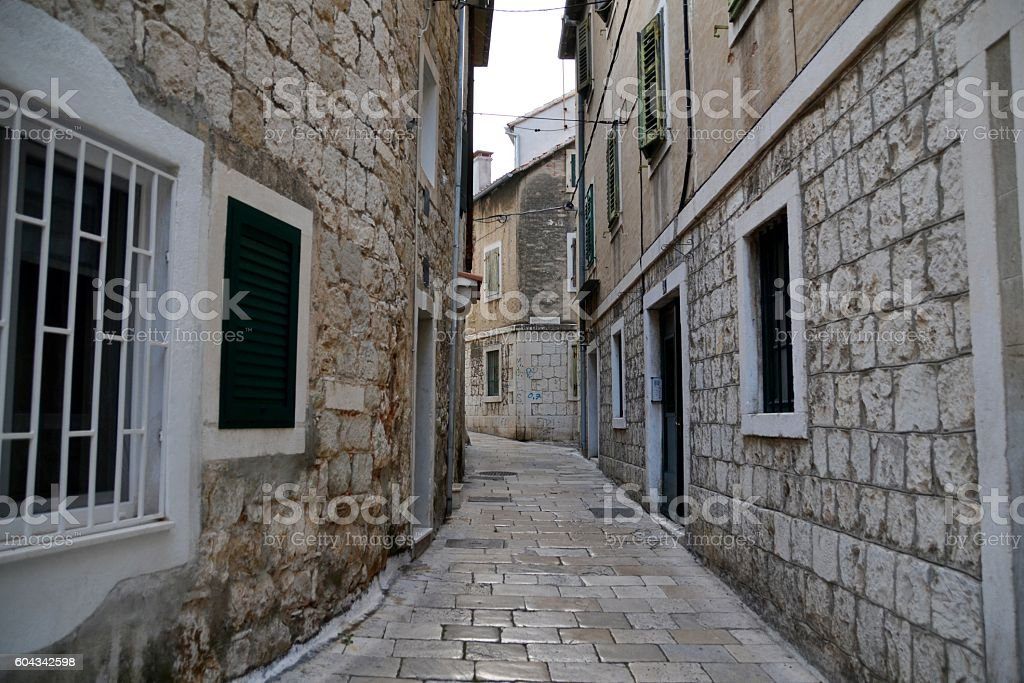 Narrow street in Split, Croatia stock photo