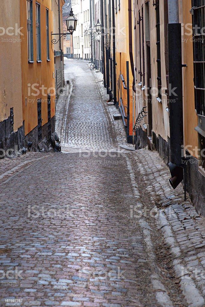 Narrow street in Stockholm royalty-free stock photo