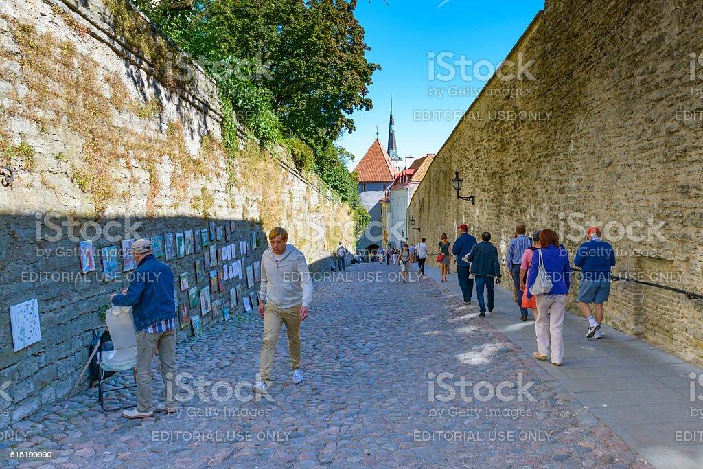 Narrow street in Tallinn stock photo