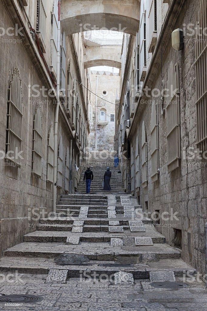 Narrow street in the Arab quarter of Jerusalem royalty-free stock photo