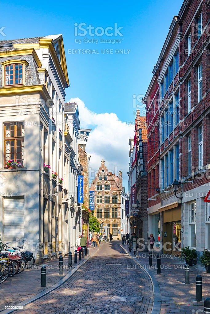 Narrow street in the Belgium city of Ghent stock photo