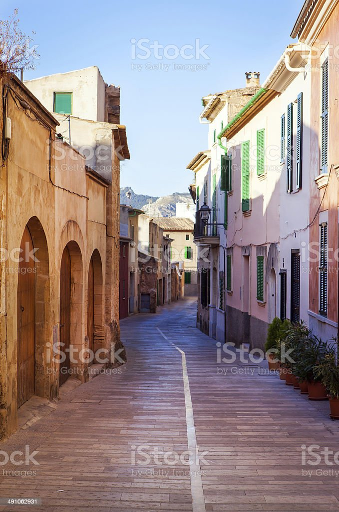 Narrow street in the Mediterranean town stock photo