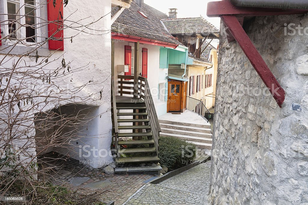 Narrow street in the village of Veytaux stock photo