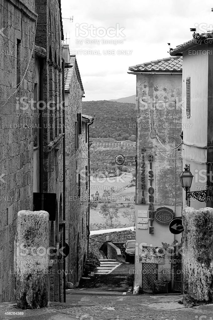 Narrow street in Tuscany royalty-free stock photo