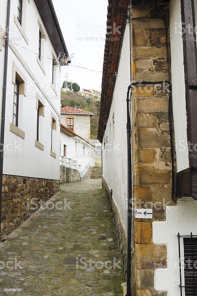 Narrow street of a maritime village stock photo