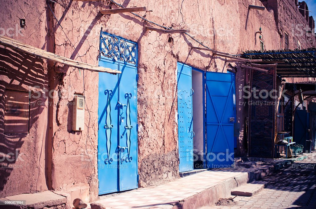 Narrow street of Ouarzazate - Morocco stock photo