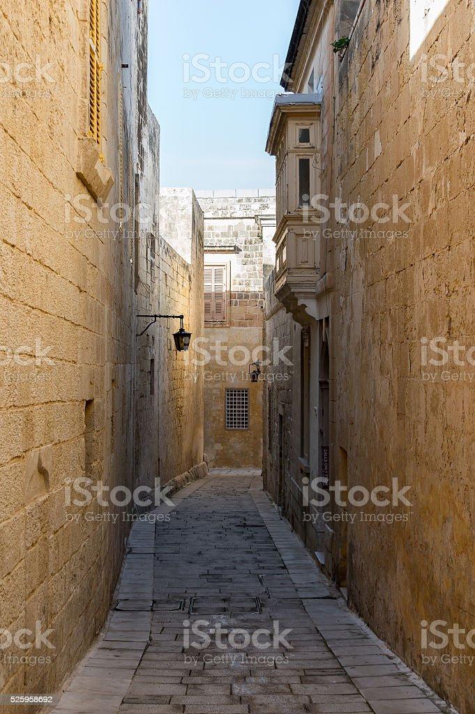 Narrow street of the old city of Mdina in Malta stock photo