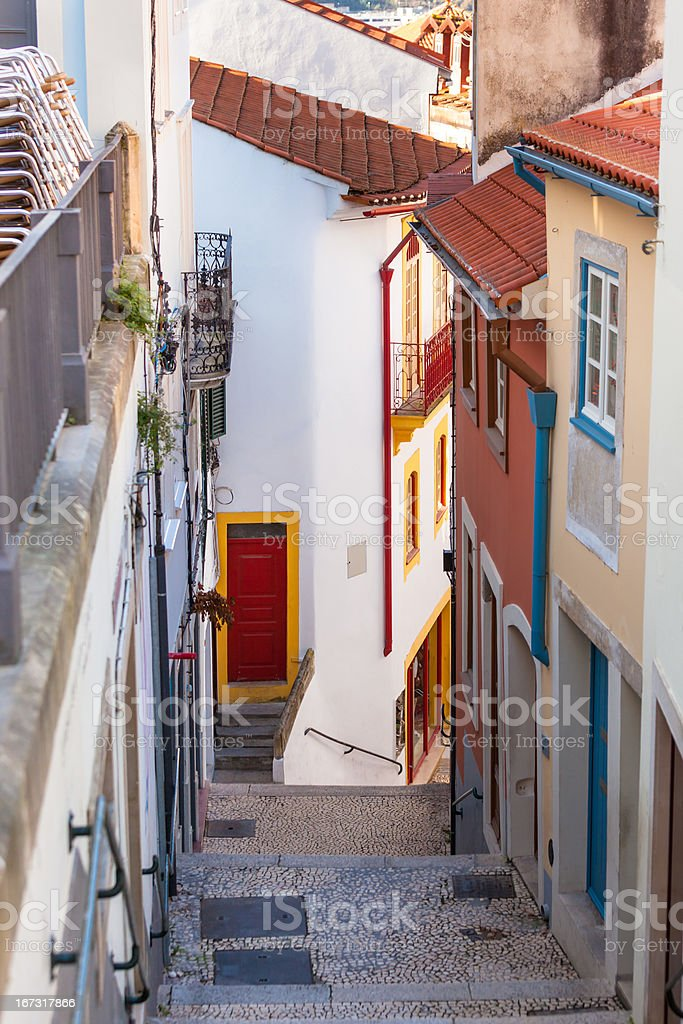 Narrow Street with Stairs in Old Town, Coimbra royalty-free stock photo