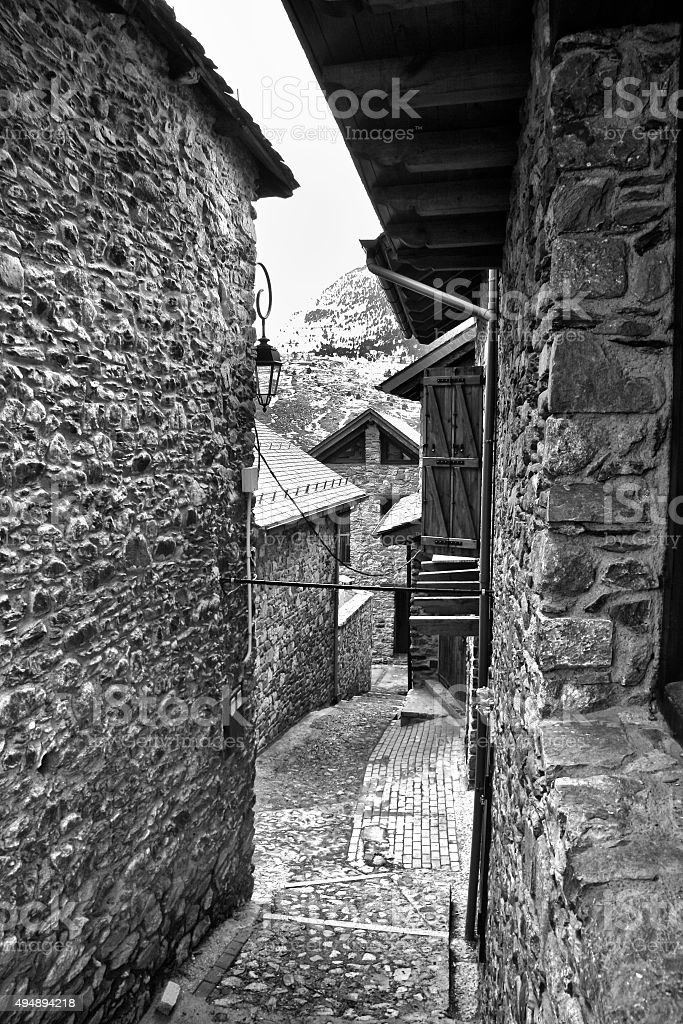 Narrow streets in a village at Pyrenees stock photo