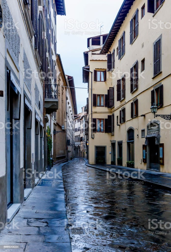 Narrow streets in Florence.Italy stock photo