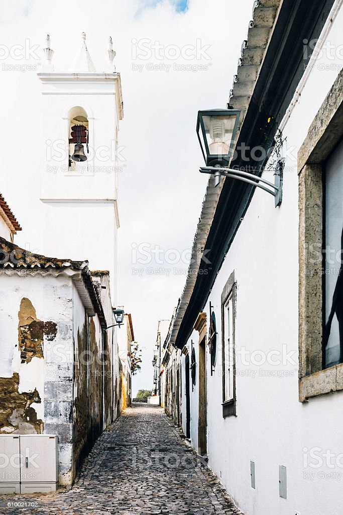Narrow streets in Tavira. Algarve, Portugal. stock photo
