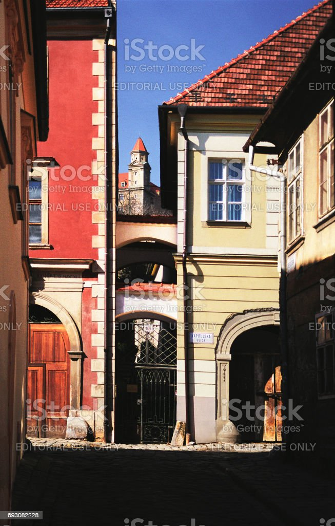 Narrow streets in the Old Town of Bratislava stock photo