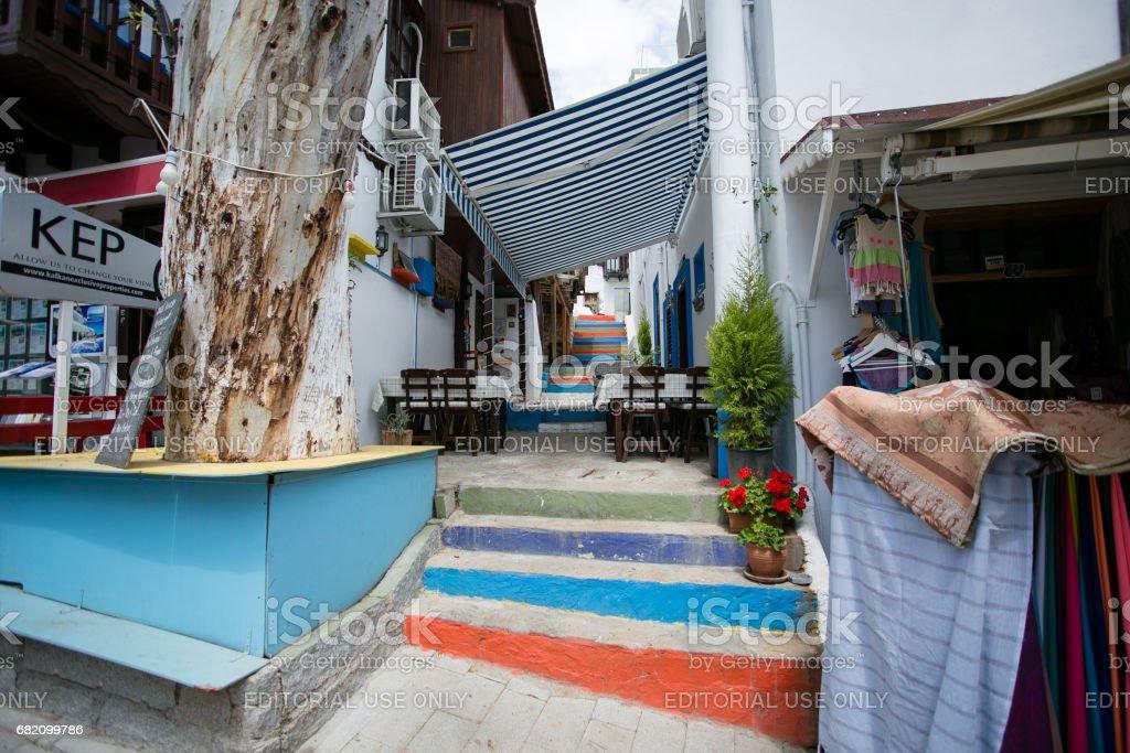 Narrow streets of Kalkan town in Turkey stock photo