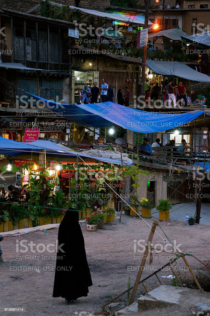 Narrow streets of Masuleh at night, Iran stock photo