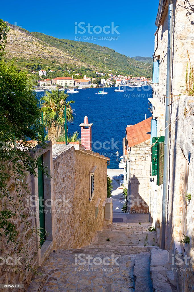 Narrow streets of Vis island vertical view stock photo
