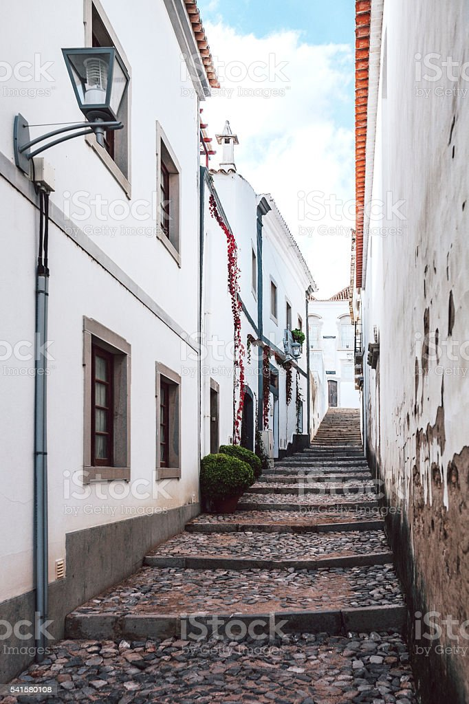 Narrow streets. Tavira, Algarve, Portugal. stock photo