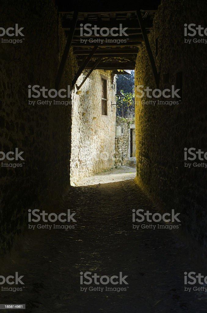 Narrow tunnel stock photo