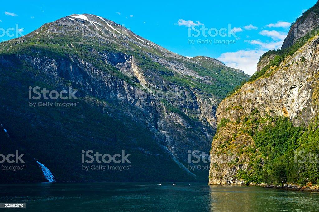 Narrow valley of the Geiranger fjord stock photo