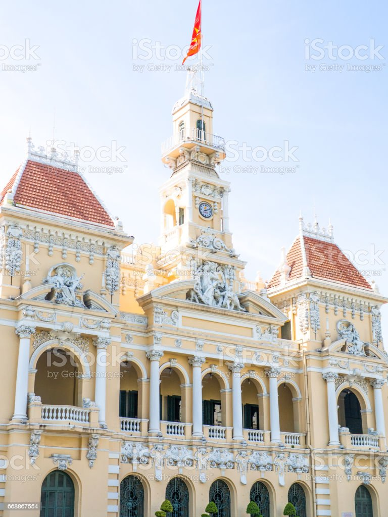 SAIGON, VIETNAM - MARCH 26, 2017:  Narrow view of Notre-Dame Cathedral Basilica of Saigon is about Roman Catholic French conquest of religion located on archdiocese of Ho Chi Minh city. stock photo