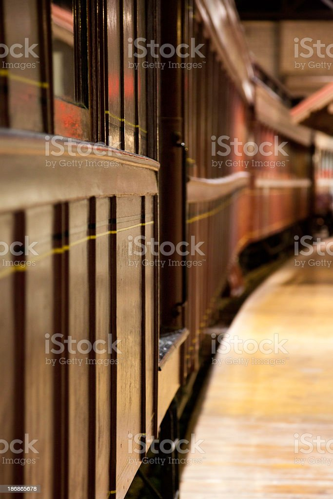 Narrow View of Old Fashioned Passenger Train Car royalty-free stock photo