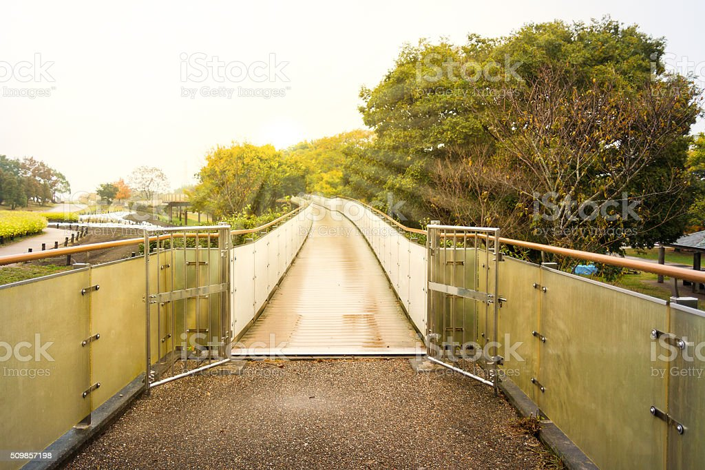 Narrow walkway after rain. stock photo
