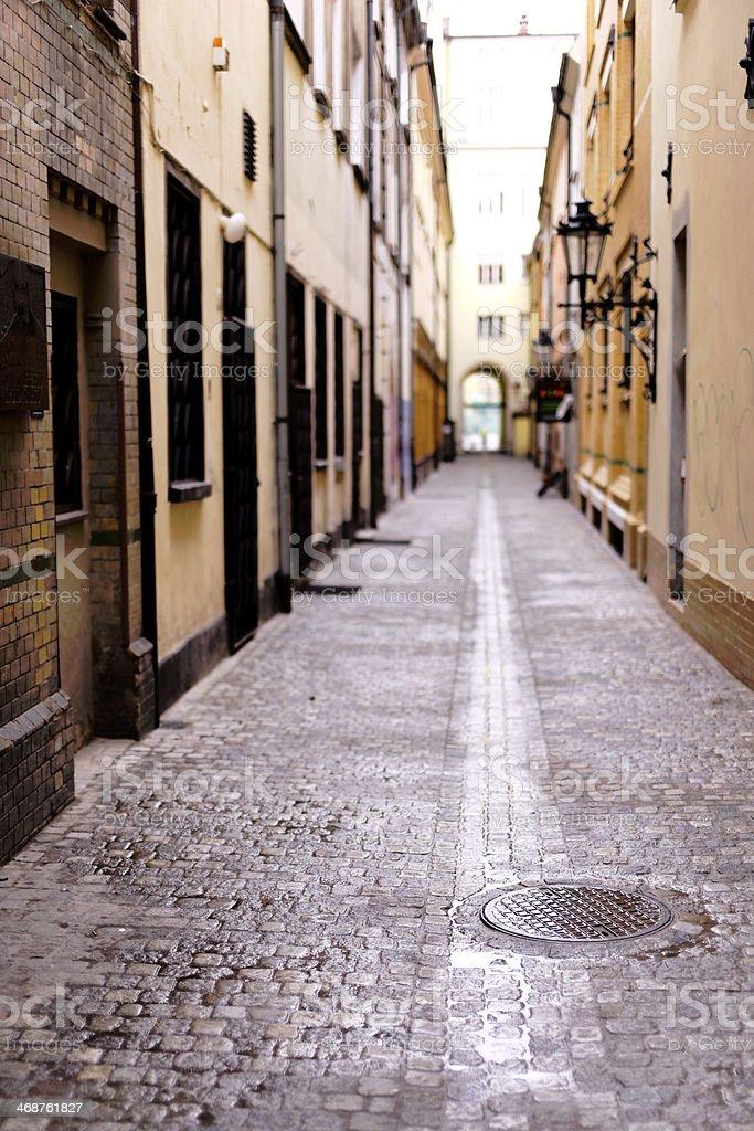 Narrow, wet cobbled street royalty-free stock photo