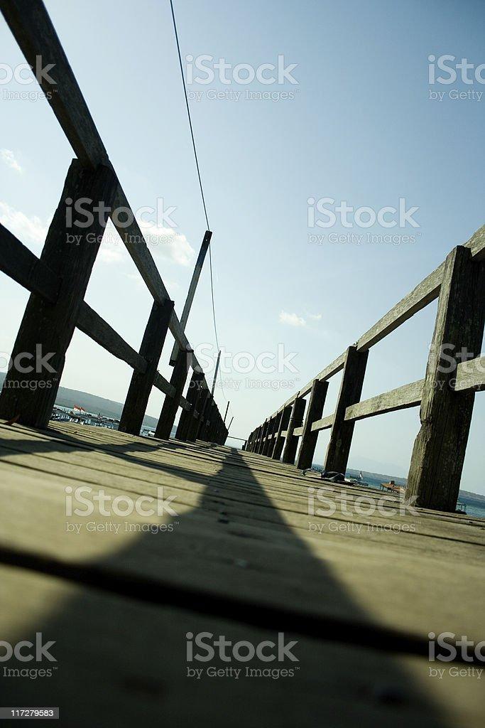 Narrow wooden foodbridge stock photo