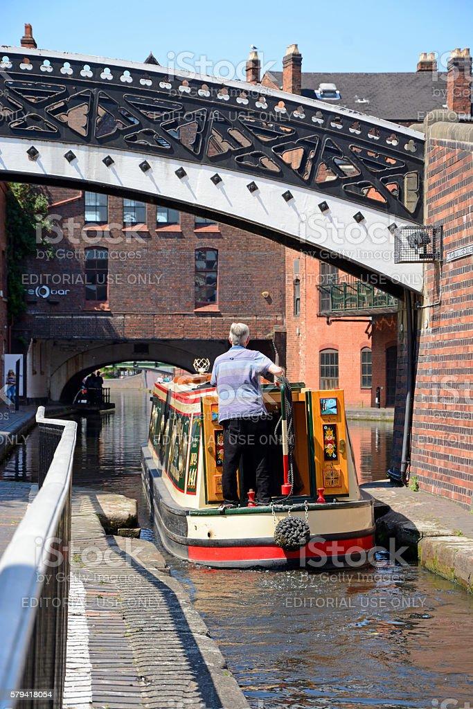Narrowboat at Gas Street Basin, Birmingham. stock photo