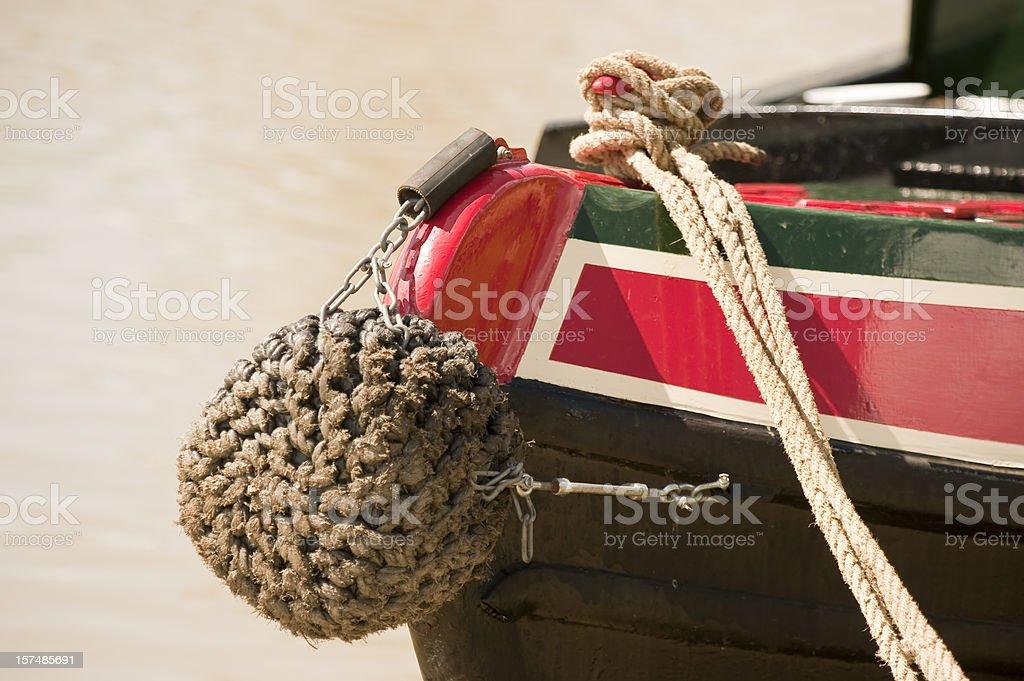 Narrowboat Bow Bumper stock photo