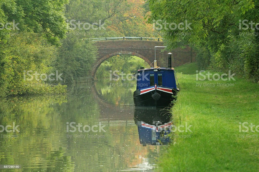 Narrowboat moored near Foxton stock photo