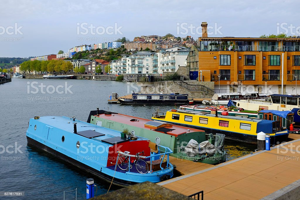 Narrowboat moorings on River Avon, Bristol stock photo
