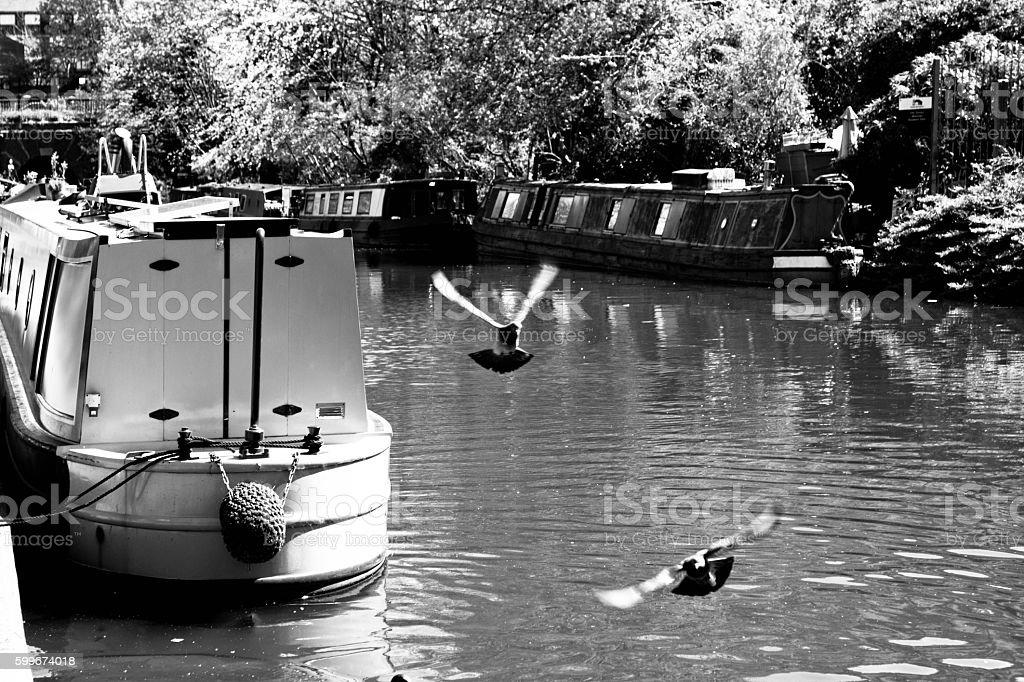 Narrowboating Kings Cross. stock photo