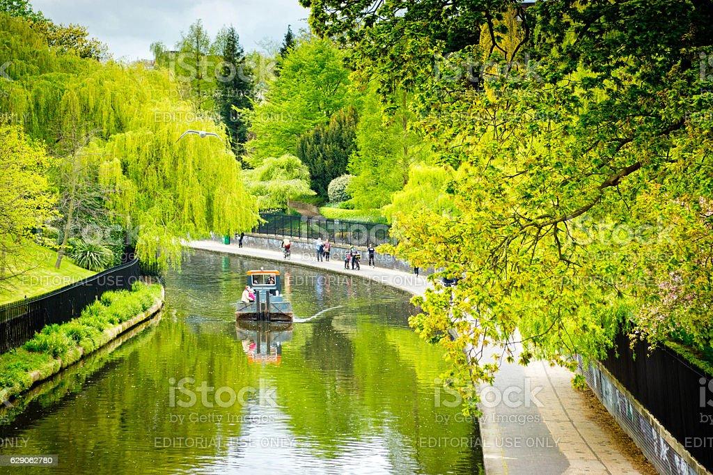 Narrowboating Regent's Park. stock photo