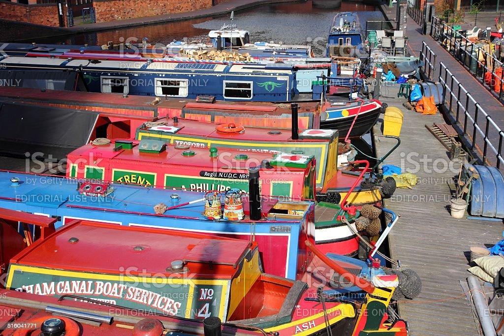 Narrowboats in England stock photo