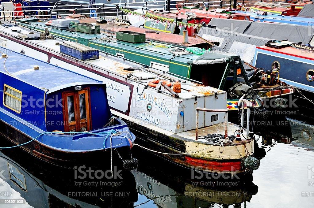 Narrowboats in Gas Street Basin. stock photo