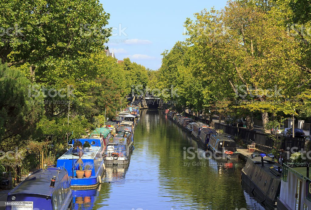 Narrowboats in London on the Regents Canal stock photo