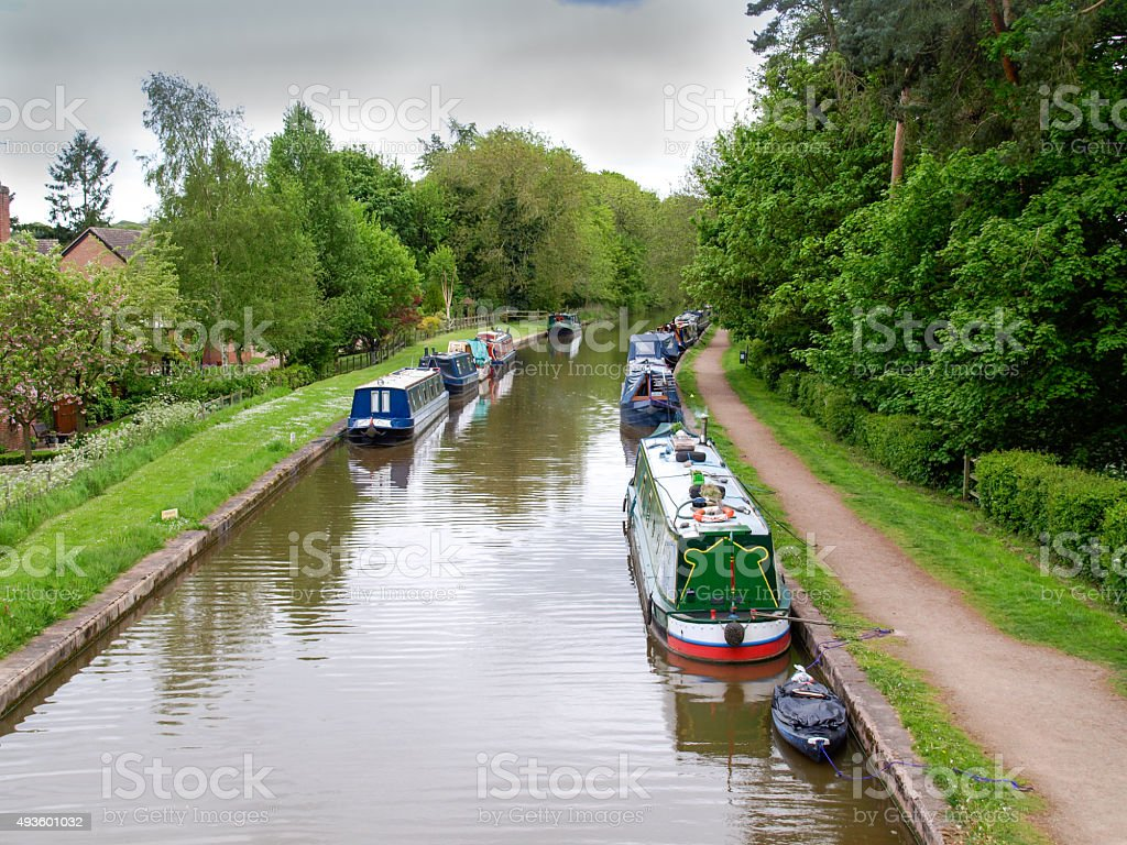 Narrowboats stock photo