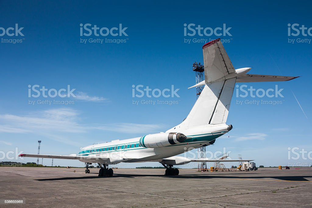 Narrow-body aircraft on the airport apron royalty-free stock photo