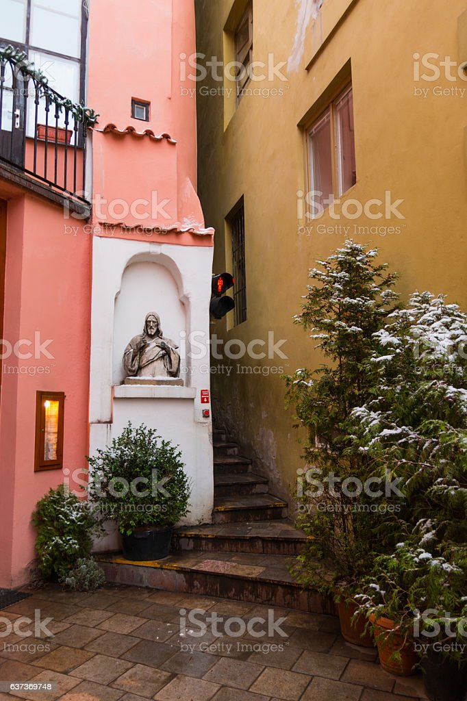 Narrowest street with traffic light in Prague stock photo