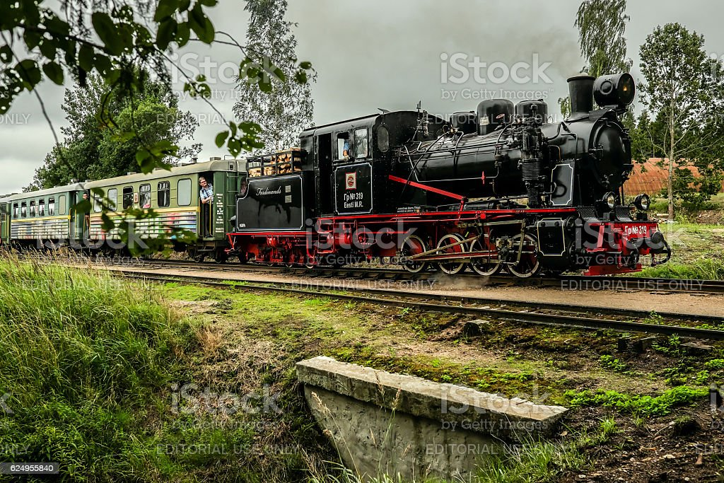 Narrow-gauge railway steam locomotive driving over a bridge with passangers stock photo