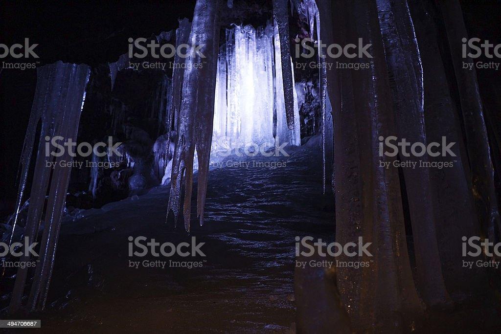 Narusawa ice cave stock photo