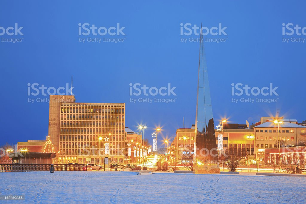 Narvik Town Square Norway stock photo