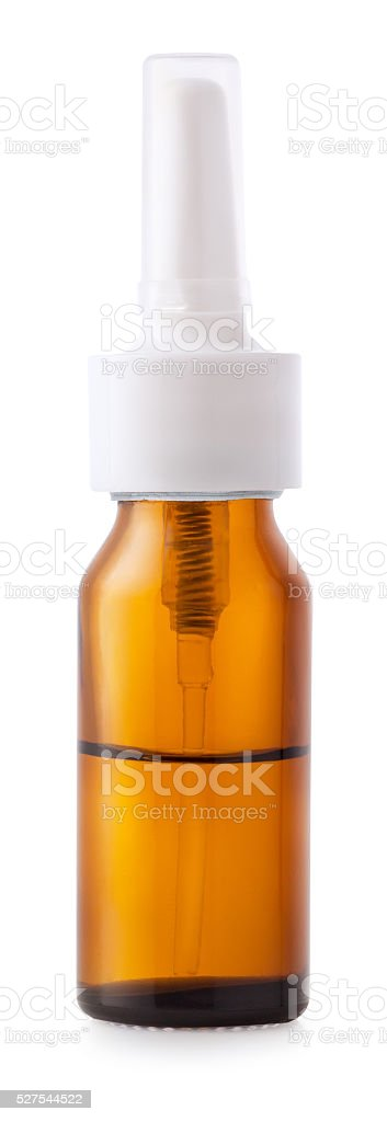 Nasal spray container isolated on white background stock photo