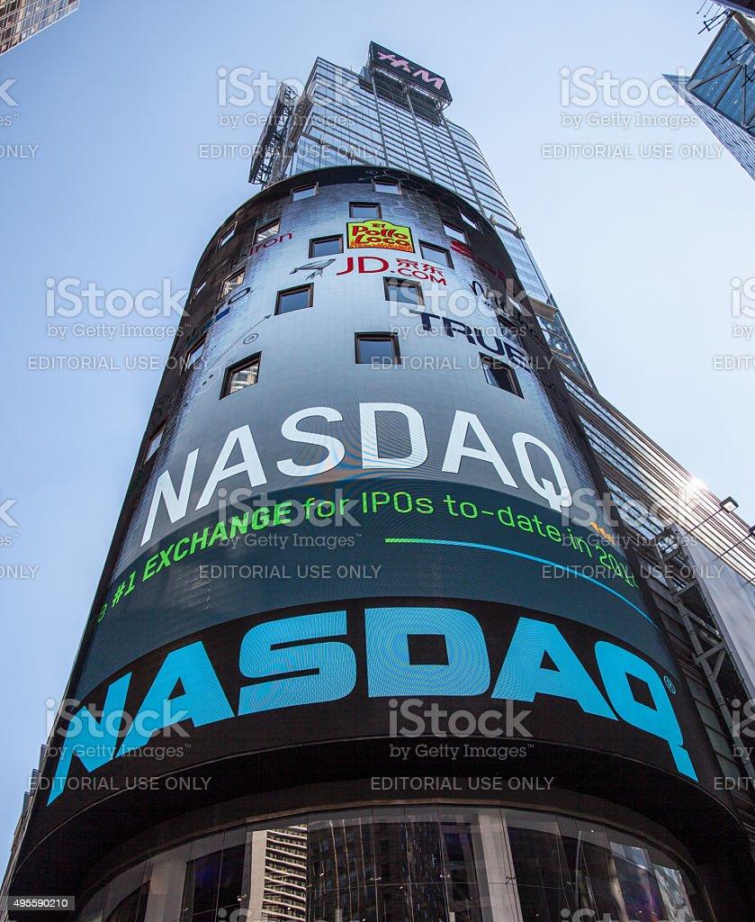 Nasdaq billboard at Times Square New York City stock photo